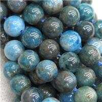 blue Apatite Beads, round, approx 6mm dia