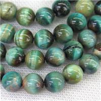 round Tiger eye stone beads, blue, approx 8mm dia