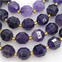 purple Amethyst beads, faceted barrel, approx 10mm dia