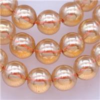 round Synthetic Quartz Beads with champagne electroplated, approx 10mm dia