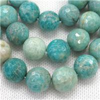 green Amazonite beads, faceted round, approx 16mm dia