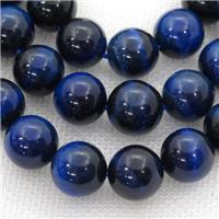 blue Tiger eye stone beads, round, approx 10mm dia