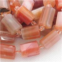 red Carnelian Agate beads, faceted cylinder, approx 12-18mm