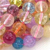 crystal glass beads, round, mixed color, approx 10mm dia