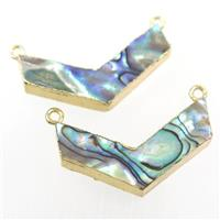 Paua Abalone shell pendant, V-shape, gold plated, approx 20-35mm