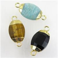 mixed gemstone connector, faceted oval, gold plated, approx 10-14mm
