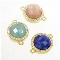 mixed gemstone connector paved zircon, circle, gold plated, approx 11mm dia