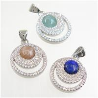 mix gemstone pendant paved zircon, circle, platinum plated, approx 15mm dia