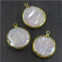white freshwater Pearl pendants, circle, gold plated, approx 16-20mm