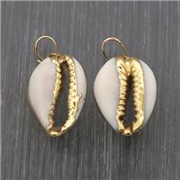 white Conch Shell pendants, gold plated, approx 10-20mm