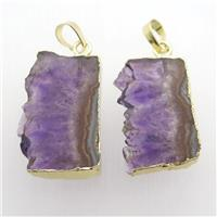 Amethyst Druzy slice pendant, gold plated, approx 15-35mm