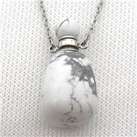 white Howlite Turquoise perfume bottle Necklace, approx 30-40mm