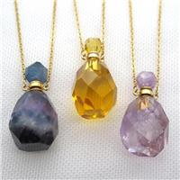 mixed Gemstone perfume bottle Necklace, approx 20-40mm