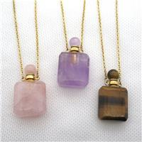 mixed Gemstone perfume bottle Necklace, approx 20-35mm