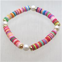 Fimo Polymer Clay bracelet with pearl, stretchy, approx 6mm