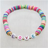 Fimo Polymer Clay bracelet with letter beads, stretchy, approx 6mm