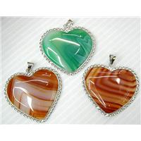Mixed Natural Agate, Silver Plated Hinge Bail, 40x33mm