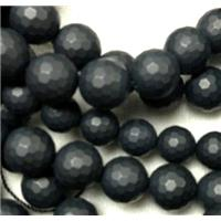matte black onyx agate Bead, faceted round, 10mm dia, approx 40pcs per st