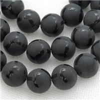 matte black onyx agate Beads, round, approx 8mm dia, 15.5 inches