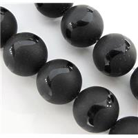 black onyx agate beads, round, matte, approx 8mm dia, 15.5 inches