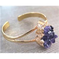 amethyst druzy bangle, copper, gold plated, approx 20-30mm, 60mm dia