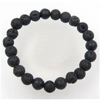 black lava stone bead bracelet, round, stretchy, approx 8mm bead, 60mm dia