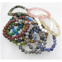mixed gemstone bead bracelet, round, stretchy, approx 8mm bead, 60mm dia