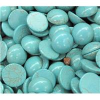round synthetical turquoise cabochon, flat-back, green