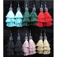 tassel earring paved rhinestone with nylon wire, mix color, approx 10mm, 80mm long