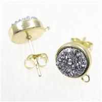 silver druzy quartz earring studs, flat-round, gold plated