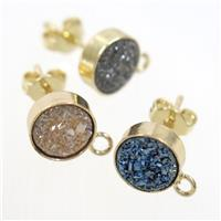 mix color druzy quartz earring studs, gold plated, approx 10mm dia