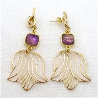 copper earrings with amethyt, gold plated, approx 28-60mm