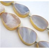 natural Agate beads, teardrop, dark-gold plated, approx 20-30mm, 15.5 inches