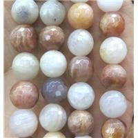 SunStone and Moonlight stone beads, faceted round, approx 12mm dia