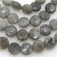 Labradorite bead, faceted coin-round, approx 14mm dia