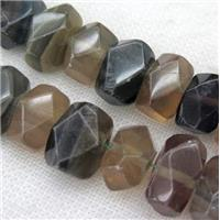 Fluorite nugget beads, faceted freeform, approx 16-22mm