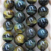 tiger eye bead, round, yellowblue, approx 8mm dia