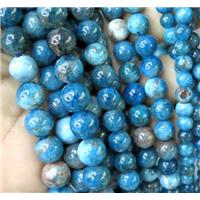 round Apatite Beads, blue, approx 6mm dia