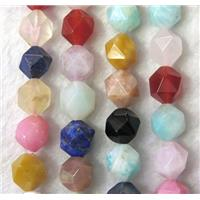 mix gemstone ball bead, faceted round, approx 12mm dia