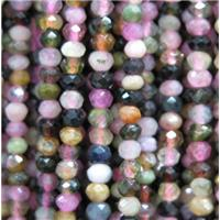 tiny Tourmaline beads, faceted rondelle, mix color, approx 2x3mm
