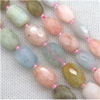 faceted beryl Morganite barrel beads, mix color, approx 10x14mm