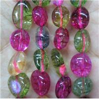 multi color glass crystal quartz chip bead, freeform, approx 6-10mm