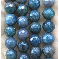 faceted round Apatite beads, AB-grade, approx 6mm dia