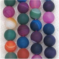 round matte striped Agate beads, mix color, approx 14mm dia