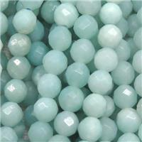 faceted round Amazonite beads ball, blue, approx 8mm dia