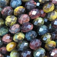 tiger eye stone beads, faceted rondelle, multi color