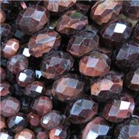 red tiger eye stone bead, faceted rondelle