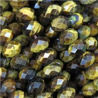 natural tiger eye stone beads, faceted rondelle