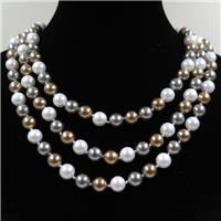 Pearlized Shell knoted necklace, round, approx 8mm, 126cm long