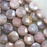 peach MoonStone beads, faceted flat-round, AB color plated, approx 12mm dia